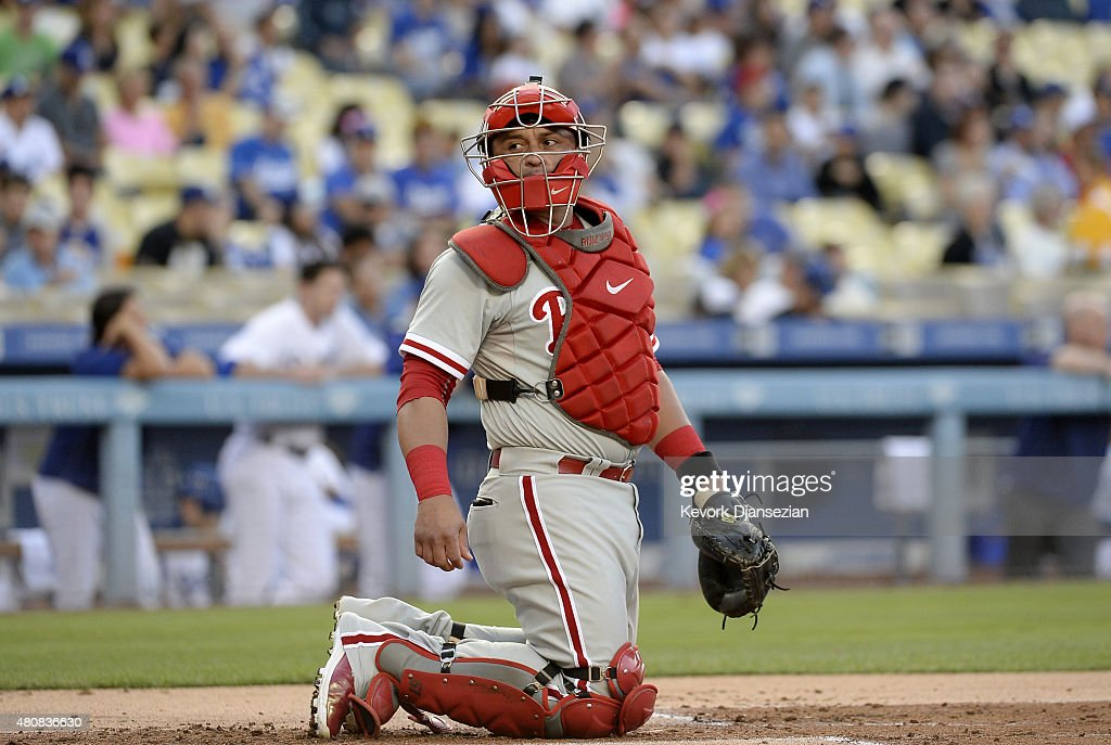 Catcher Carlos Ruiz of the Philadelphia Phillies waits to catch for pitcher Adam Morgan of the Philadelphia Phillies against the Los Angeles Dodgers...