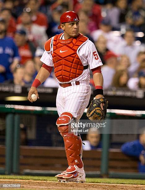 Catcher Carlos Ruiz of the Philadelphia Phillies walks back to home plate against the Toronto Blue Jays on May 6 2014 at Citizens Bank Park in...