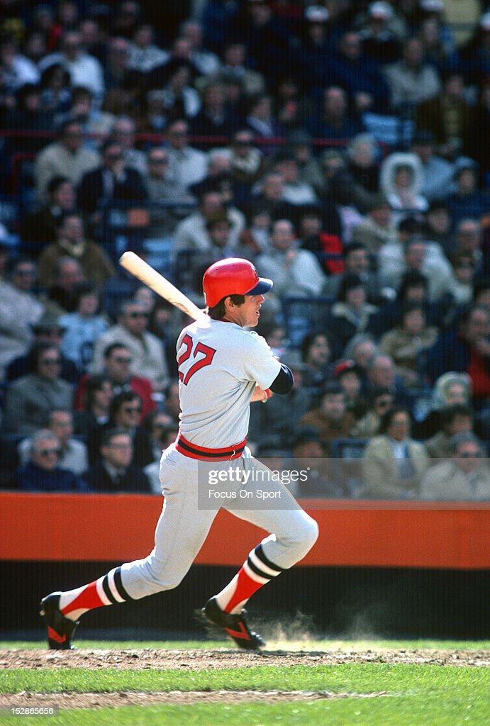 Catcher <a gi-track='captionPersonalityLinkClicked' href=/galleries/search?phrase=Carlton+Fisk&family=editorial&specificpeople=211610 ng-click='$event.stopPropagation()'>Carlton Fisk</a> #27 of the Boston Red Sox bats against the Baltimore Orioles during an MLB baseball game circa 1975 at Memorial Stadium in Baltimore, Maryland. Fisk Played for the Red Sox from 1969, 1971-80.