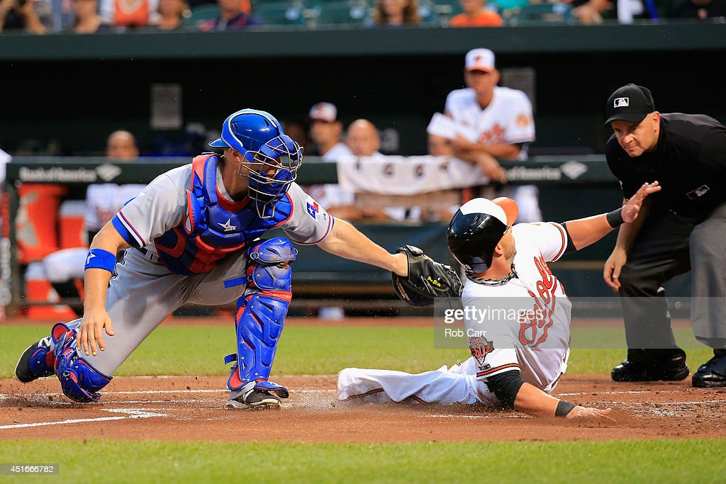 Catcher <a gi-track='captionPersonalityLinkClicked' href=/galleries/search?phrase=Chris+Gimenez&family=editorial&specificpeople=4959066 ng-click='$event.stopPropagation()'>Chris Gimenez</a> #60 of the Texas Rangers tags out <a gi-track='captionPersonalityLinkClicked' href=/galleries/search?phrase=Steve+Pearce+-+Baseball+Player&family=editorial&specificpeople=14621971 ng-click='$event.stopPropagation()'>Steve Pearce</a> #28 of the Baltimore Orioles trying to score during the first inning at Oriole Park at Camden Yards on July 3, 2014 in Baltimore, Maryland.
