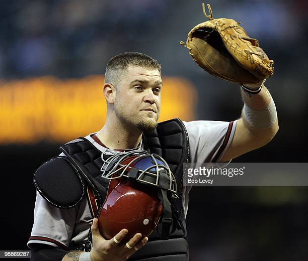 Catcher Chris Snyder of the Arizona Diamondbacks looks on against the Houston Astros at Minute Maid Park on May 4 2010 in Houston Texas