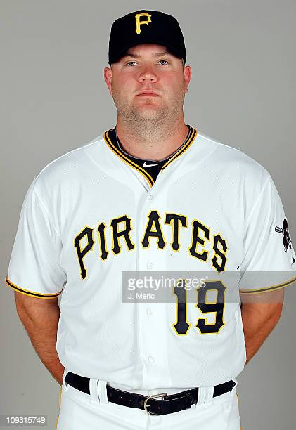 Catcher Chris Snyder of the Pittsburgh Pirates poses for a photo during photo day at Pirate City on February 20 2011 in Bradenton Florida