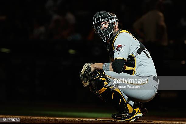 Catcher Chris Stewart of the Pittsburgh Pirates during the MLB game against the Arizona Diamondbacks at Chase Field on April 24 2016 in Phoenix...
