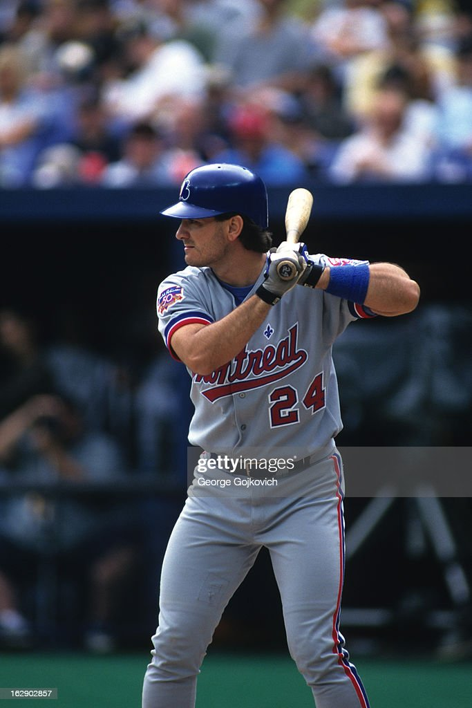 Catcher <a gi-track='captionPersonalityLinkClicked' href=/galleries/search?phrase=Darrin+Fletcher&family=editorial&specificpeople=233630 ng-click='$event.stopPropagation()'>Darrin Fletcher</a> #24 of the Montreal Expos bats during a Major League Baseball game against the Pittsburgh Pirates at Three Rivers Stadium in 1997 in Pittsburgh, Pennsylvania.