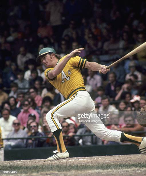 Catcher Dave Duncan of the Oakland Athletics at bat during a game in June 1972 against the Detroit Tigers at Tiger Stadium in Detroit Michigan