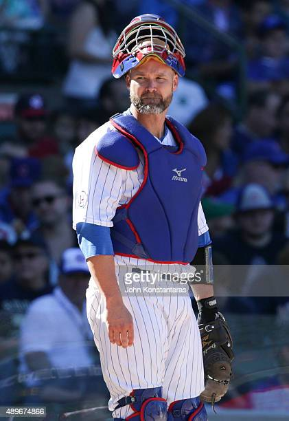 Catcher David Ross of the Chicago Cubs during the fifth inning against the St Louis Cardinals at Wrigley Field on September 20 2015 in Chicago...