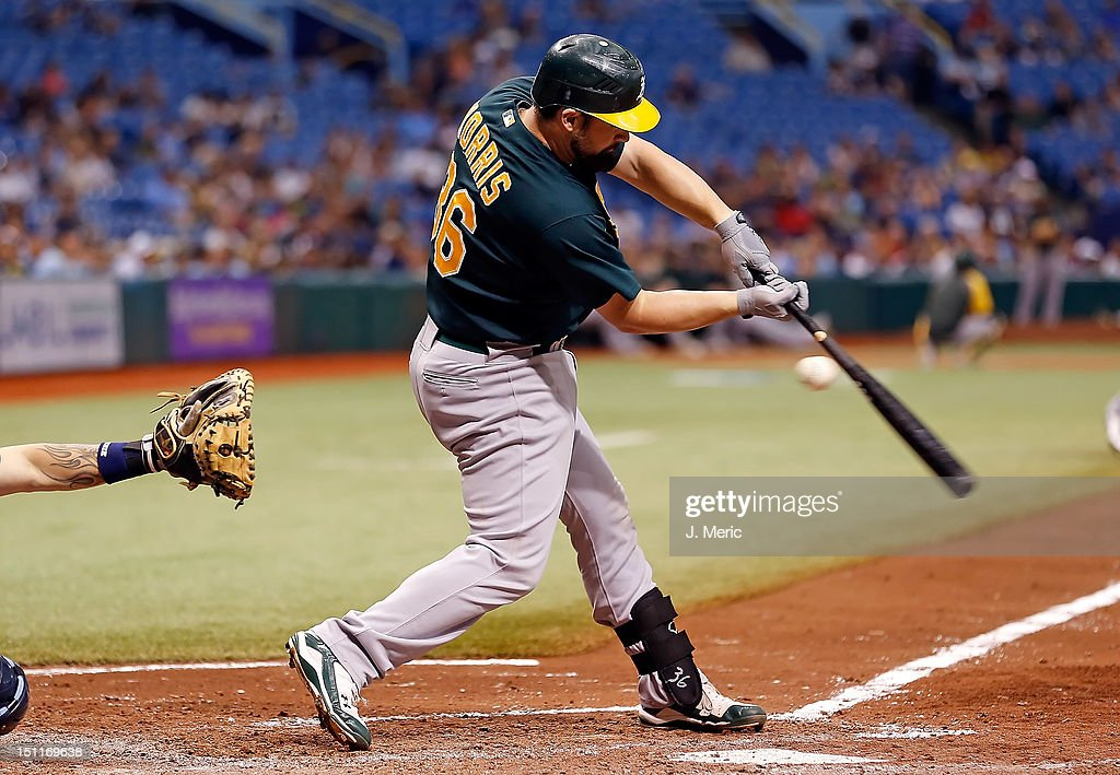 Catcher <a gi-track='captionPersonalityLinkClicked' href=/galleries/search?phrase=Derek+Norris&family=editorial&specificpeople=6795804 ng-click='$event.stopPropagation()'>Derek Norris</a> #36 of the Oakland Athletics bats against the Tampa Bay Rays during the game at Tropicana Field on August 25, 2012 in St. Petersburg, Florida.