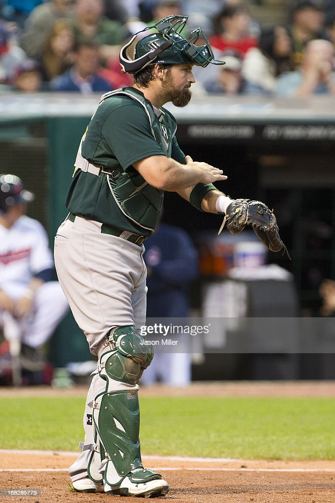 Catcher <a gi-track='captionPersonalityLinkClicked' href=/galleries/search?phrase=Derek+Norris&family=editorial&specificpeople=6795804 ng-click='$event.stopPropagation()'>Derek Norris</a> #36 of the Oakland Athletics calls the play to his teammates during the seventh inning against the Cleveland Indians at Progressive Field on May 7, 2013 in Cleveland, Ohio.