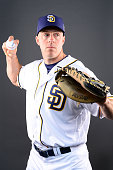 Catcher Erik Kratz of the San Diego Padres poses for a portrait during spring training photo day at Peoria Sports Complex on February 26 2016 in...