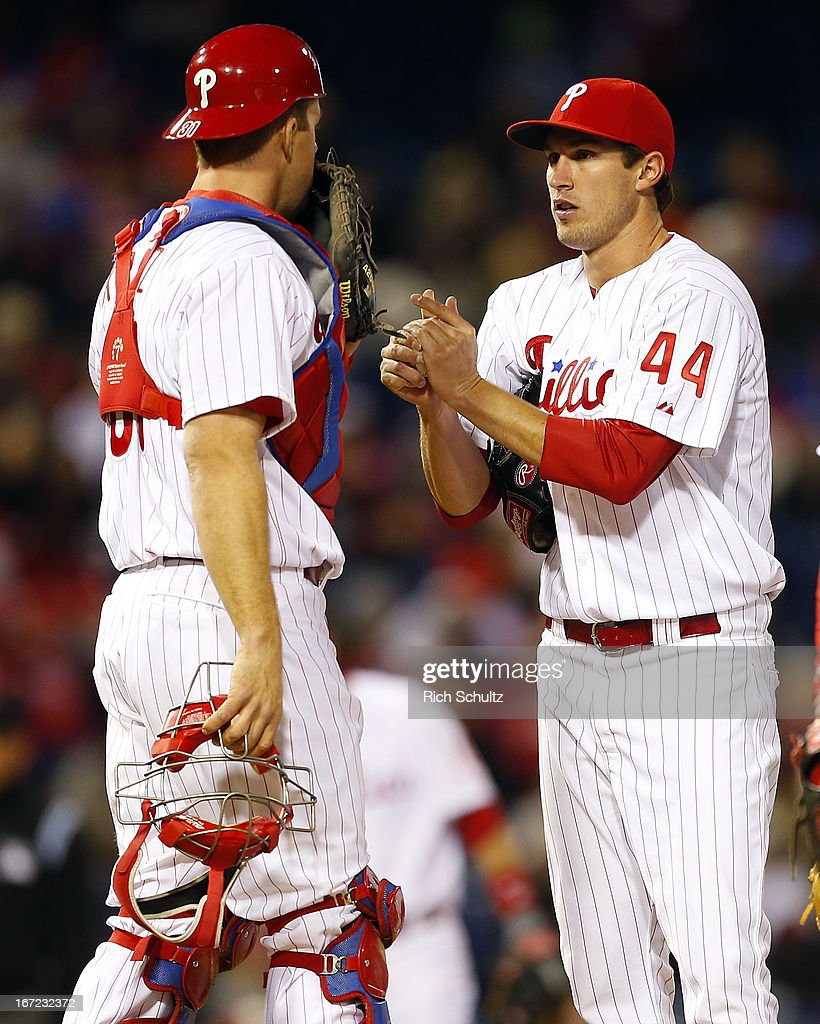 Catcher Erik Kratz #31 talks with pitcher Jonathan Pettibone #44 of the Philadelphia Phillies on the mound against of the Pittsburgh Pirates in a MLB baseball game on April 22, 2013 at Citizens Bank Park in Philadelphia, Pennsylvania. The Phillies defeated the Pirates 3-2.
