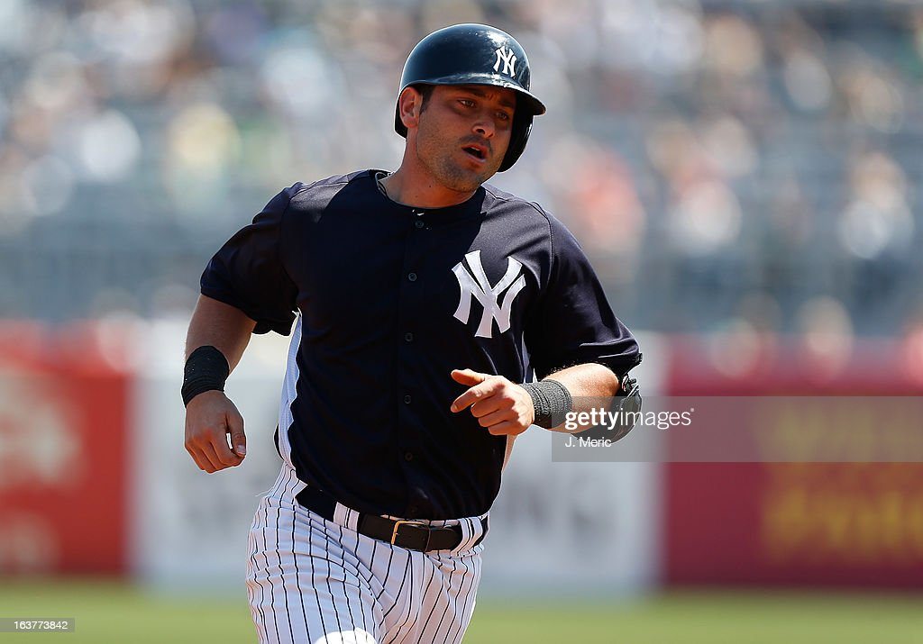 Catcher Francisco Cervelli #29 of the New York Yankees rounds the bases after his home run against the Miami Marlins during a Grapefruit League Spring Training Game at George M. Steinbrenner Field on March 15, 2013 in Tampa, Florida.