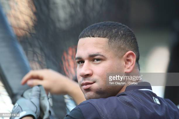 Catcher Gary Sanchez of the New York Yankees at batting practice before the New York Yankees Vs New York Mets regular season MLB game at Citi Field...