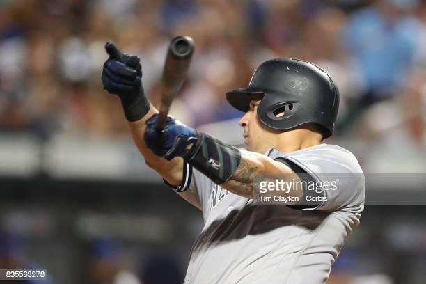 Catcher Gary Sanchez of the New York Yankees batting during the New York Yankees Vs New York Mets regular season MLB game at Citi Field on August 16...