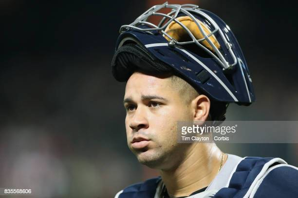 Catcher Gary Sanchez of the New York Yankees during the New York Yankees Vs New York Mets regular season MLB game at Citi Field on August 16 2017 in...