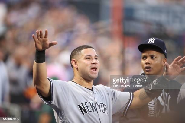 Catcher Gary Sanchez of the New York Yankees in the dugout during the New York Yankees Vs New York Mets regular season MLB game at Citi Field on...