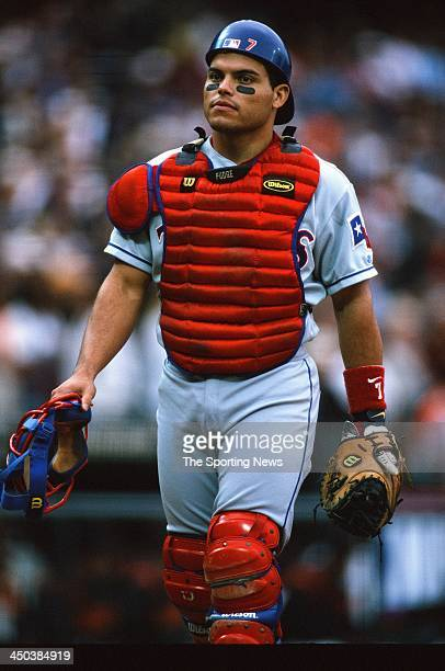 Catcher Ivan Rodriguez of the Texas Rangers during the game against the San Francisco Giants at Pacific Bell Park on July 16 2000 in San Francisco...