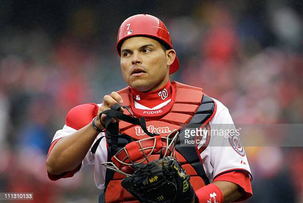 Catcher Ivan Rodriguez of the Washington Nationals before the start of the third inning against the Atlanta Braves at Nationals Park on March 31 2011...