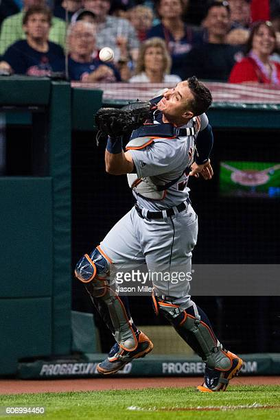 Catcher James McCann of the Detroit Tigers catches a pop fly hit by Michael Martinez of the Cleveland Indians to end the eighth inning at Progressive...