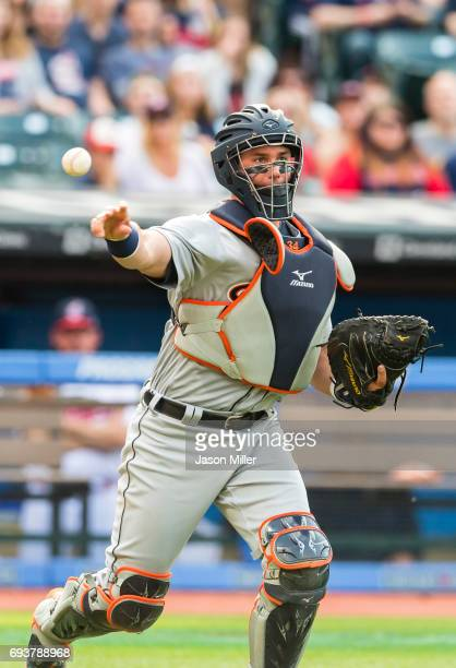 Catcher James McCann of the Detroit Tigers throws out Yandy Diaz of the Cleveland Indians during the third inning at Progressive Field on April 15...