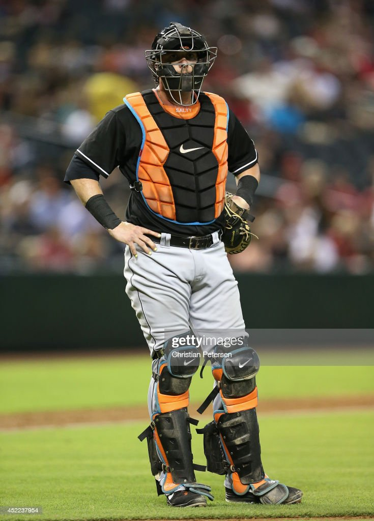 Catcher Jarrod Saltalamacchia #39 of the Miami Marlins in action during the MLB game against the Arizona Diamondbacks at Chase Field on July 7, 2014 in Phoenix, Arizona.