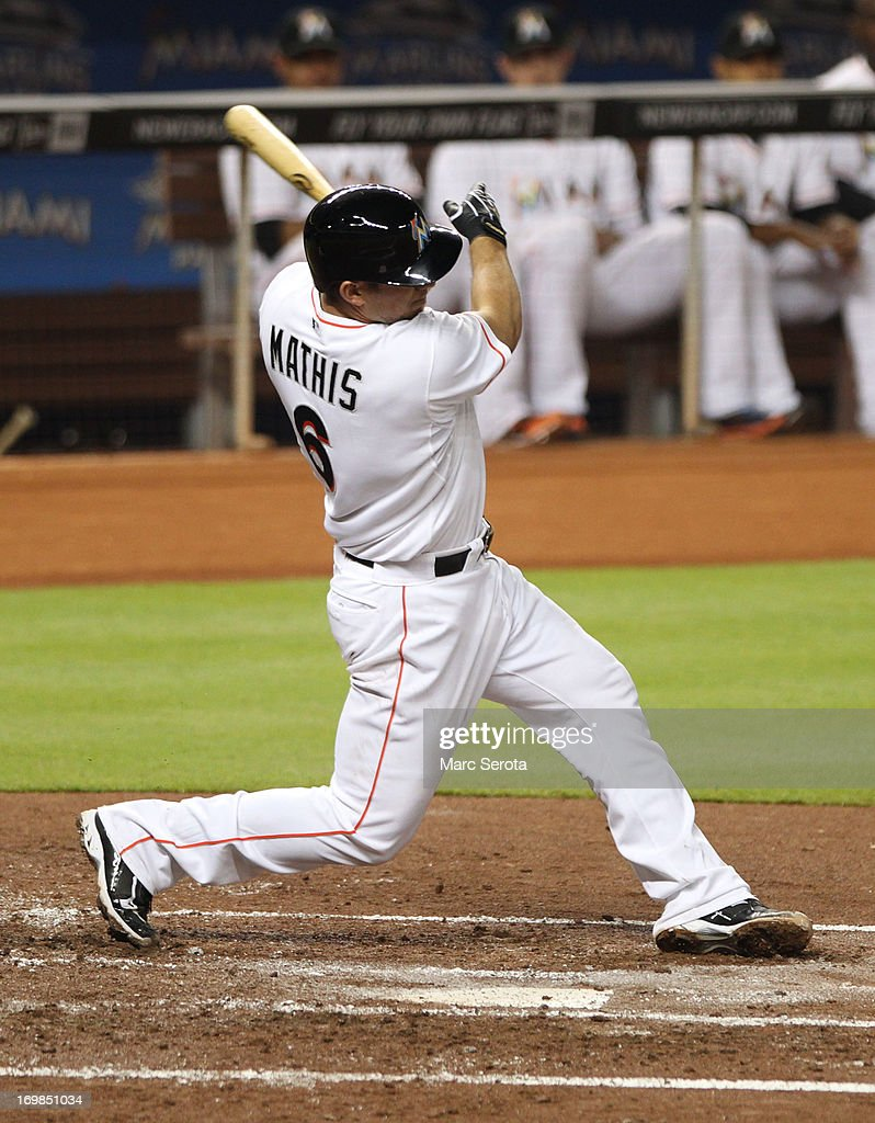Catcher <a gi-track='captionPersonalityLinkClicked' href=/galleries/search?phrase=Jeff+Mathis&family=editorial&specificpeople=660661 ng-click='$event.stopPropagation()'>Jeff Mathis</a> #6 of the Miami Marlins bats against the Philadelphia Phillies at Marlins Park on May 22, 2013 in Miami, Florida. The Phillies defeated the Marlins 3-0.