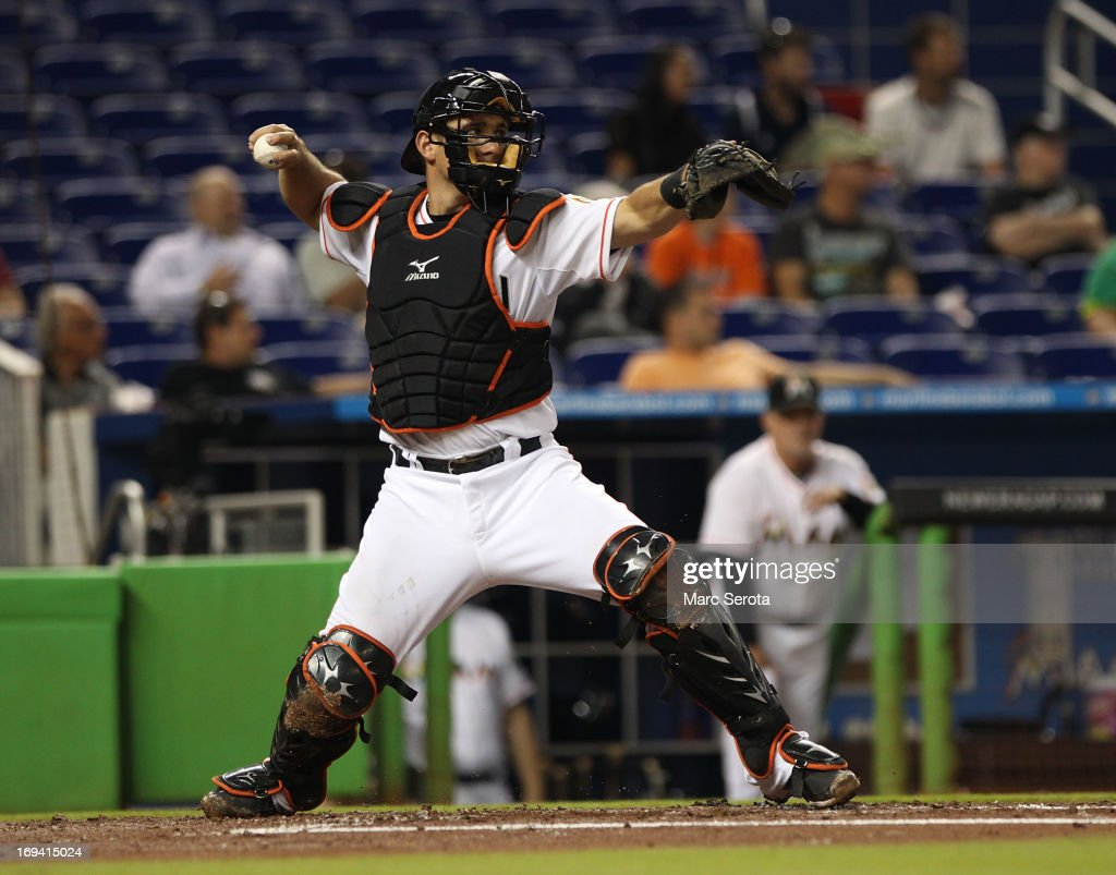 Catcher <a gi-track='captionPersonalityLinkClicked' href=/galleries/search?phrase=Jeff+Mathis&family=editorial&specificpeople=660661 ng-click='$event.stopPropagation()'>Jeff Mathis</a> #6 of the Miami Marlins plays against the Philadelphia Phillies at Marlins Park on May 22, 2013 in Miami, Florida. The Phillies defeated the Marlins 3-0.