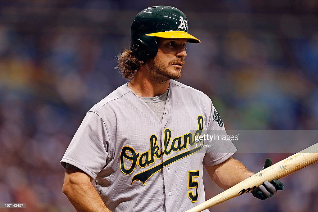 Catcher <a gi-track='captionPersonalityLinkClicked' href=/galleries/search?phrase=John+Jaso&family=editorial&specificpeople=4951282 ng-click='$event.stopPropagation()'>John Jaso</a> #5 of the Oakland Athletics bats against the Tampa Bay Rays during the game at Tropicana Field on April 21, 2013 in St. Petersburg, Florida.