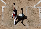 Catcher Jordan Pacheco of the Arizona Diamondbacks in action during the MLB game against the Washington Nationals at Chase Field on May 13 2015 in...