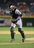 Catcher Jordan Pacheco of the Colorado Rockies during the MLB game against the Arizona Diamondbacks at Chase Field on April 29 2014 in Phoenix...