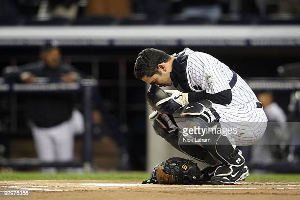 Catcher Jorge Posada of the New York Yankees prepares to play against the Philadelphia Phillies in Game Six of the 2009 MLB World Series at Yankee...