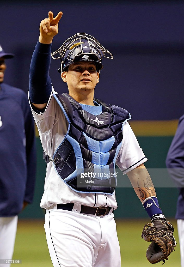 Catcher Jose Lobaton #59 of the Tampa Bay Rays celebrates the Rays' victory over the Cleveland Indians at Tropicana Field on April 5, 2013 in St. Petersburg, Florida.