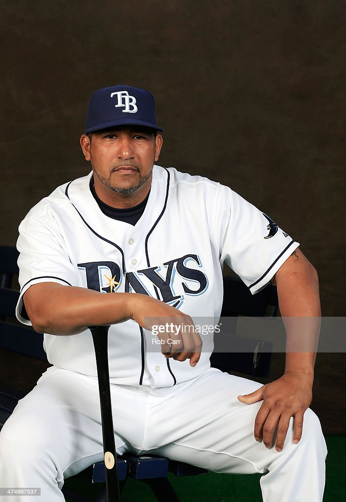Catcher Jose Molina #28 of the Tampa Bay Rays poses for a portrait at Charlotte Sports Park during photo day on February 26, 2014 in Port Charlotte, Florida.