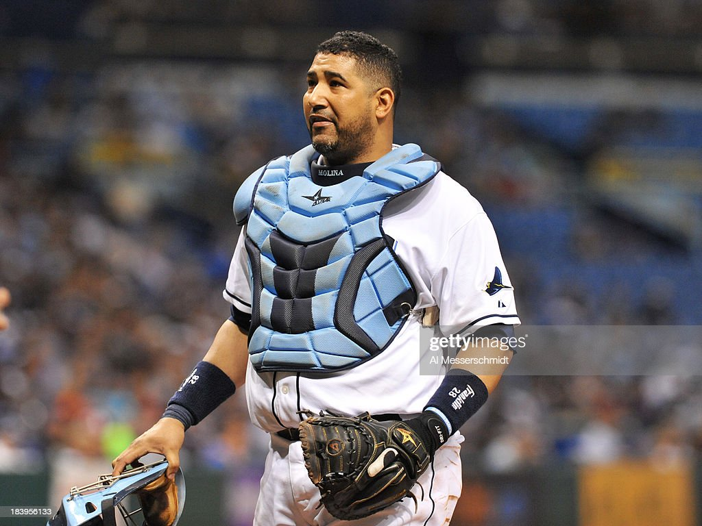 Catcher Jose Molina #28 of the Tampa Bay Rays sets for play against the Texas Rangers September 18, 2013 at Tropicana Field in St. Petersburg, Florida.