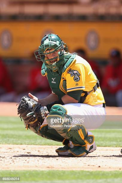 Catcher Josh Phegley of the Oakland Athletics during the MLB game against the Washington Nationals at Oakland Coliseum on June 3 2017 in Oakland...