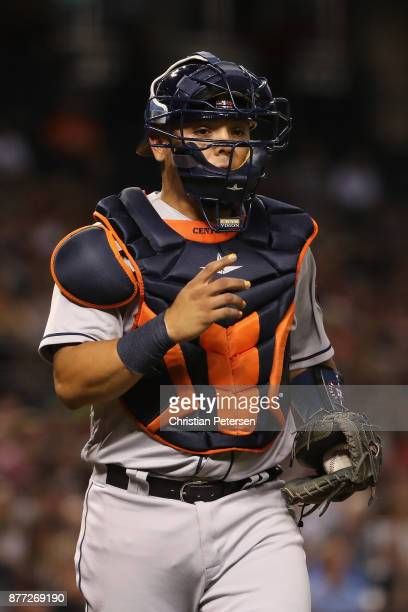 Catcher Juan Centeno of the Houston Astros during the MLB game against the Arizona Diamondbacks at Chase Field on August 14 2017 in Phoenix Arizona...