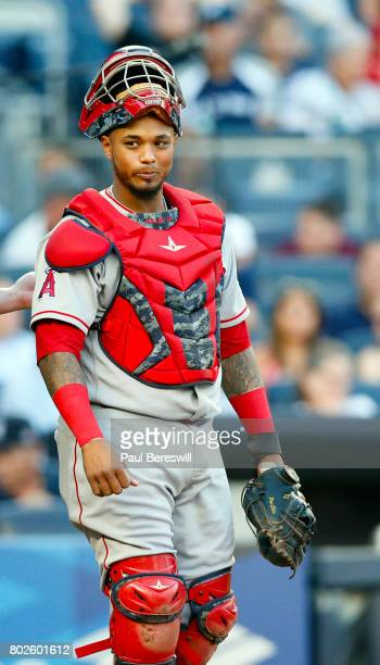 Catcher Martin Maldonado of the Los Angeles Angels looks over in an MLB baseball game against the New York Yankees on June 21 2017 at Yankee Stadium...