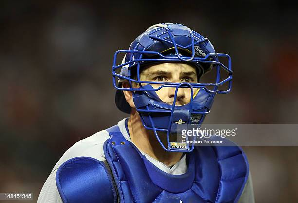 Catcher Matt Treanor of the Los Angeles Dodgers in action during the MLB game against the Arizona Diamondbacks at Chase Field on May 21 2012 in...
