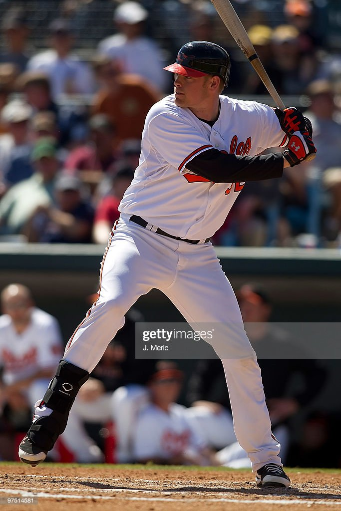 Catcher <a gi-track='captionPersonalityLinkClicked' href=/galleries/search?phrase=Matt+Wieters&family=editorial&specificpeople=4498276 ng-click='$event.stopPropagation()'>Matt Wieters</a> #32 of the Baltimore Orioles bats against the Boston Red Sox during a Grapefruit League Spring Training Game at Ed Smith Stadium on March 7, 2010 in Sarasota, Florida.