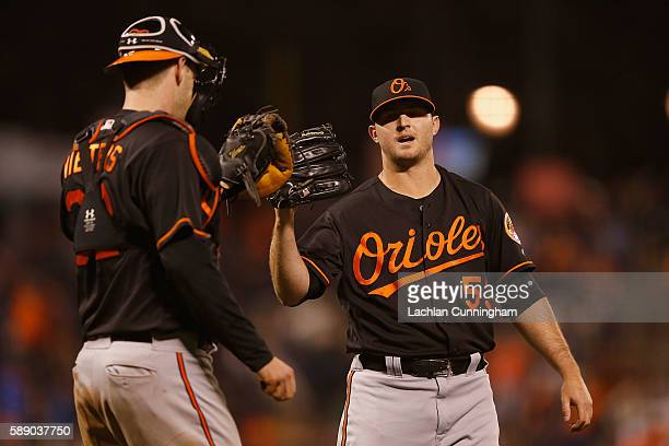 Catcher Matt Wieters of the Baltimore Orioles celebrates with pitcher Zach Britton of the Baltimore Orioles after a win against San Francisco Giants...