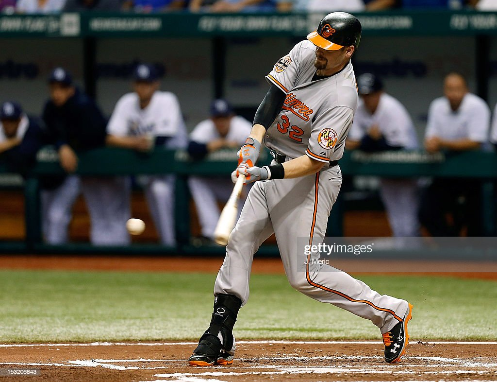 Catcher <a gi-track='captionPersonalityLinkClicked' href=/galleries/search?phrase=Matt+Wieters&family=editorial&specificpeople=4498276 ng-click='$event.stopPropagation()'>Matt Wieters</a> #32 of the Baltimore Orioles fouls off a pitch against the Tampa Bay Rays during the game at Tropicana Field on October 1, 2012 in St. Petersburg, Florida.