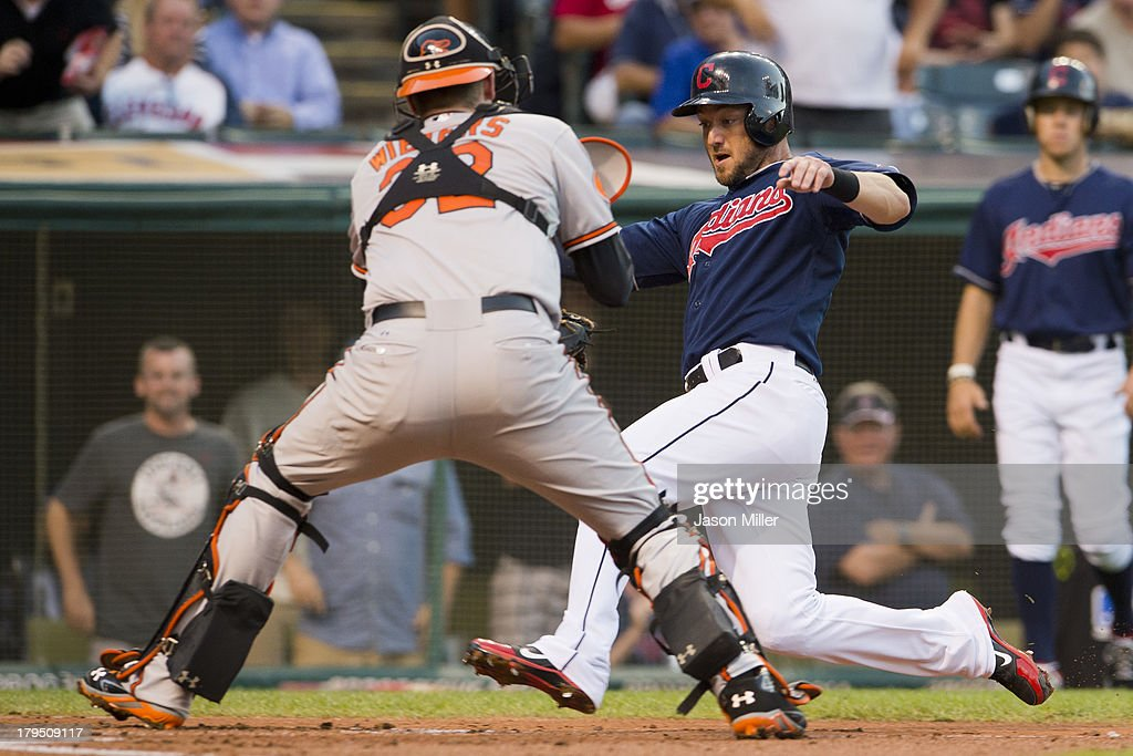 Catcher <a gi-track='captionPersonalityLinkClicked' href=/galleries/search?phrase=Matt+Wieters&family=editorial&specificpeople=4498276 ng-click='$event.stopPropagation()'>Matt Wieters</a> #32 of the Baltimore Orioles tags out <a gi-track='captionPersonalityLinkClicked' href=/galleries/search?phrase=Ryan+Raburn&family=editorial&specificpeople=2541483 ng-click='$event.stopPropagation()'>Ryan Raburn</a> #9 of the Cleveland Indians at home to end the first inning at Progressive Field on September 4, 2013 in Cleveland, Ohio.