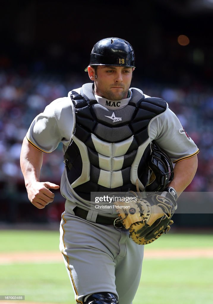 Catcher Michael McKenry #19 of the Pittsburgh Pirates during the MLB game against the Arizona Diamondbacks at Chase Field on April 10, 2013 in Phoenix, Arizona. The Diamondbacks defeated the Pirates 10-2.