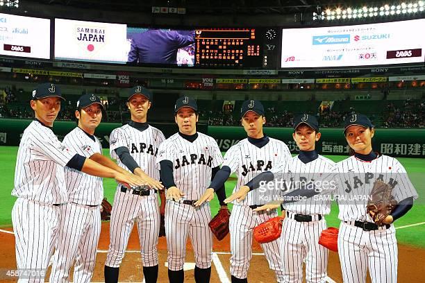 Catcher Motohiro Shima of Samurai Japan and Shigeki Nakano of Amateur Japan and Tomohiro hamada of CoIIege Japan and Kazuya Katsuki of U18 Japan...