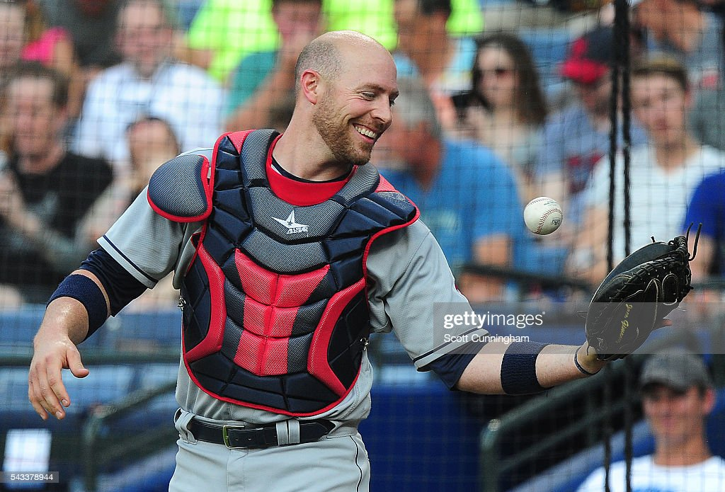 Catcher of the Cleveland Indians <a gi-track='captionPersonalityLinkClicked' href=/galleries/search?phrase=Chris+Gimenez&family=editorial&specificpeople=4959066 ng-click='$event.stopPropagation()'>Chris Gimenez</a> #38 laughs after being razzed by fans during the first inning against the Atlanta Braves at Turner Field on June 27, 2016 in Atlanta, Georgia.