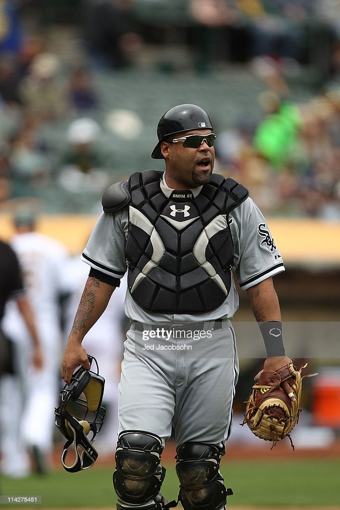 Catcher Ramon Castro #27 of the Chicago White Sox looks on against the Oakland Athletics during a Major League Baseball game at the Oakland-Alameda County Coliseum on May 14, 2011 in Oakland, California.