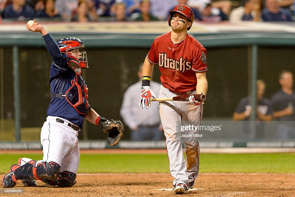 Catcher Roberto Perez #55 of the Cleveland Indians returns the ball as Ender Inciarte #5 of the Arizona Diamondbacks reacts after striking out during the eighth inning at Progressive Field during the second game of a double header on August 13, 2014 in Cleveland, Ohio.