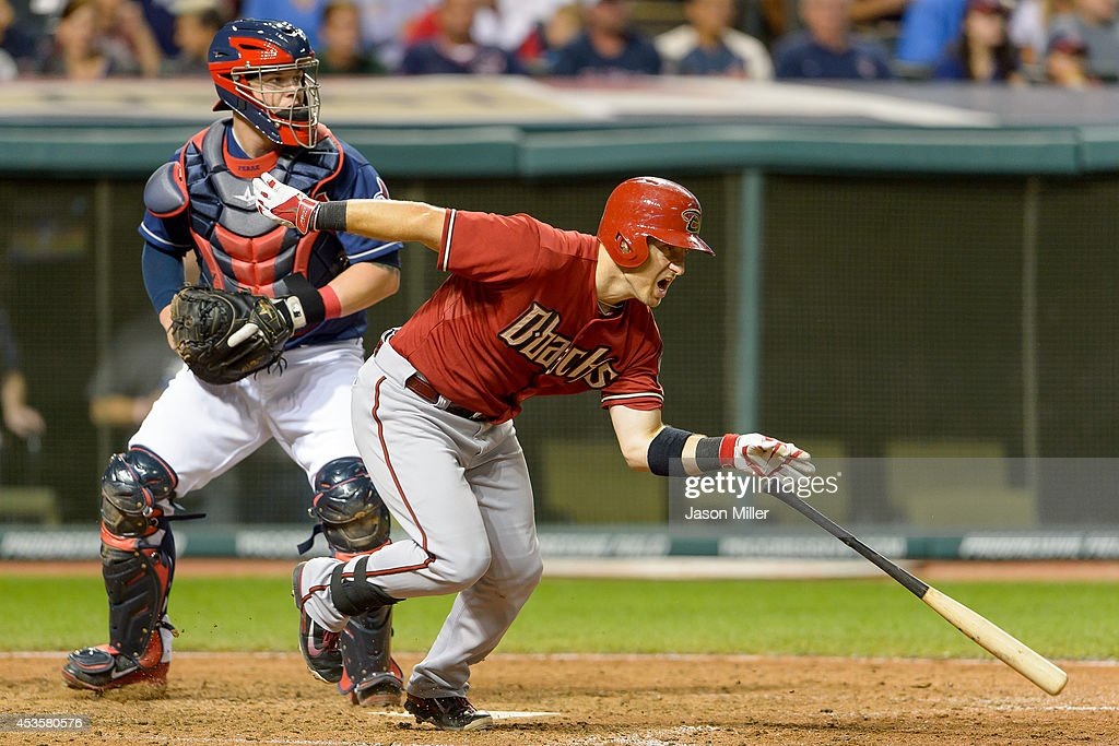 Catcher Roberto Perez #55 of the Cleveland Indians watches as Cliff Pennington #4 of the Arizona Diamondbacks grounds out to the pitcher during the sixth inning at Progressive Field during the second game of a double header on August 13, 2014 in Cleveland, Ohio.