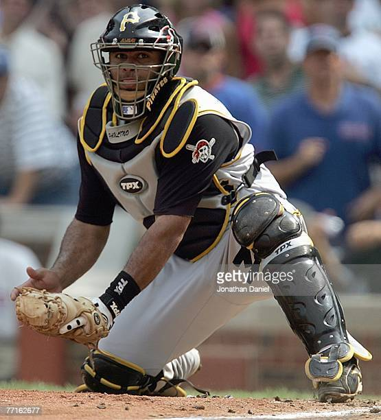 Catcher Ronny Paulino of the Pittsburgh Pirates looks to the field against the Chicago Cubs on September 21 2007 at Wrigley Field in Chicago Illinois