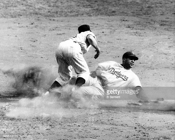 Catcher Roy Campanella of the Brooklyn Dodgers is out at second as he tried to strech a single into a double as Jerry Coleman of the New York Yankees...