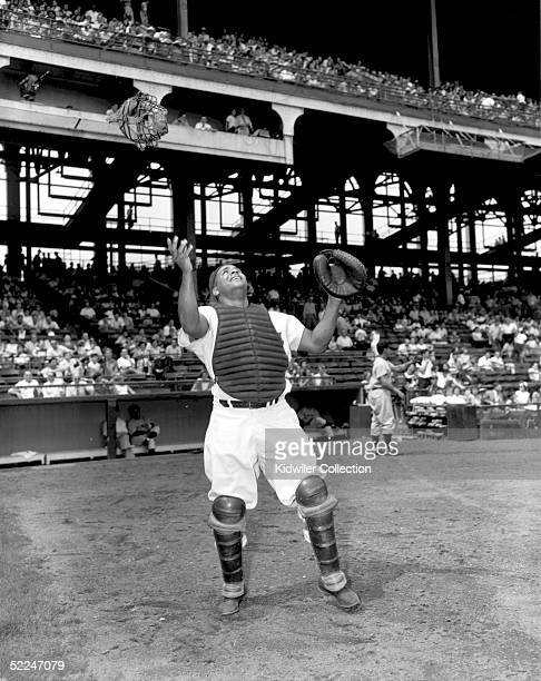 Catcher Roy Campanella of the Brooklyn Dodgers poses for the camera at Ebbets Field in Brooklyn New York in 1951